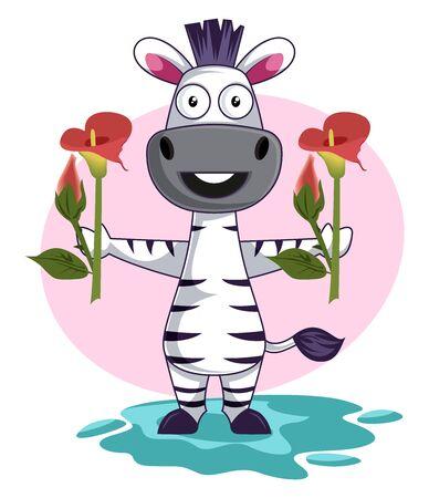 Zebra with flowers, illustration, vector on white background. Foto de archivo - 132735337