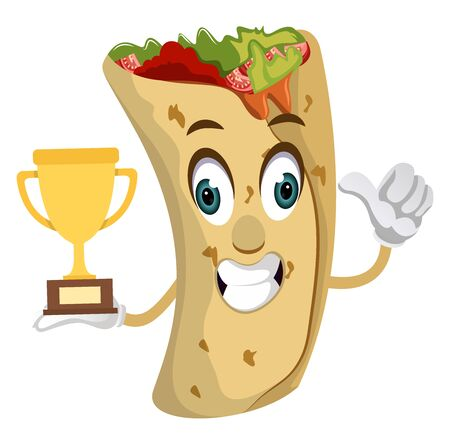 Burrito with trophy, illustration, vector on white background. Illustration