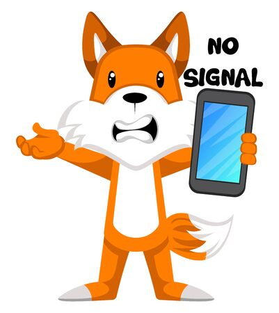 Fox with no signal, illustration, vector on white background. Ilustração