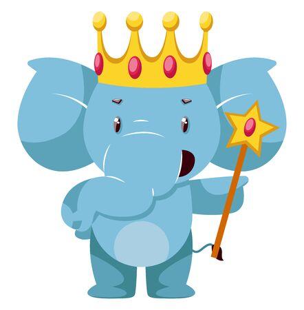 King elephant, illustration, vector on white background.