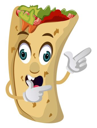 Burrito showing with hand, illustration, vector on white background.