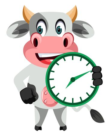 Cow with clock, illustration, vector on white background.