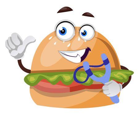 Burger with sling shot, illustration, vector on white background. Ilustração