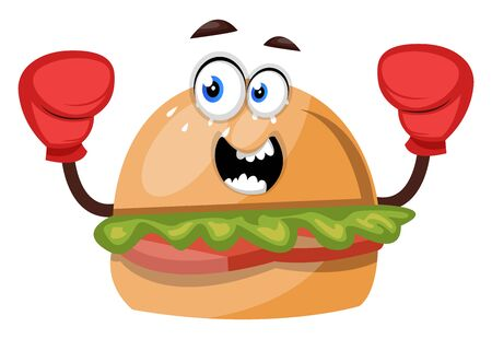Burger with red gloves, illustration, vector on white background.