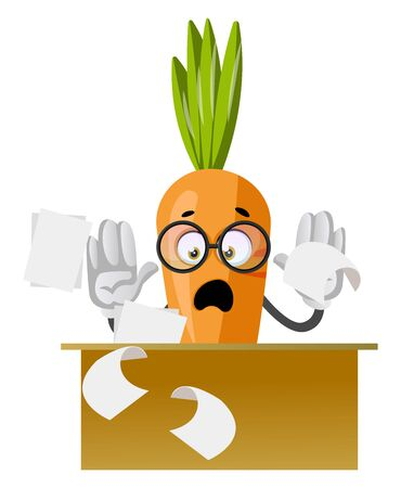 Carrot working, illustration, vector on white background.