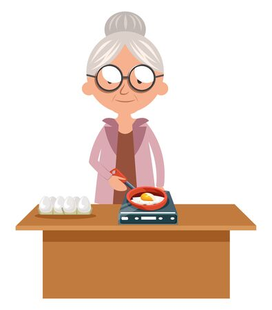 Granny cooking egg, illustration, vector on white background.