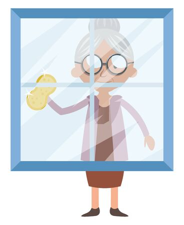 Granny cleaning window, illustration, vector on white background. Ilustração