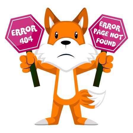 Fox with 404 error, illustration, vector on white background.