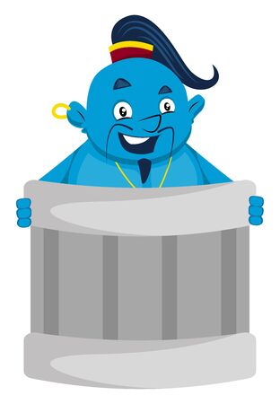 Genie in trash can, illustration, vector on white background.