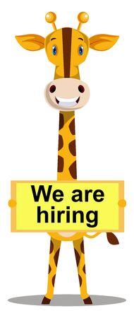Giraffe hiring, illustration, vector on white background. Ilustrace