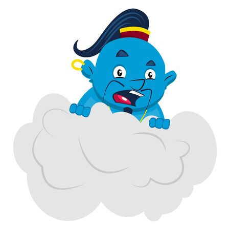 Genie in cloud, illustration, vector on white background. Vettoriali