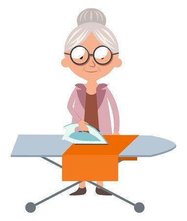 Granny ironing, illustration, vector on white background. 向量圖像