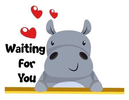 Hippo in love, illustration, vector on white background.