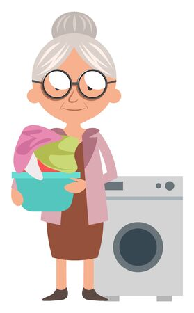 Granny with washmachine, illustration, vector on white background.