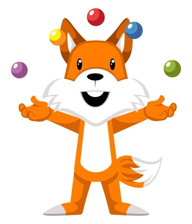Fox juggling, illustration, vector on white background.