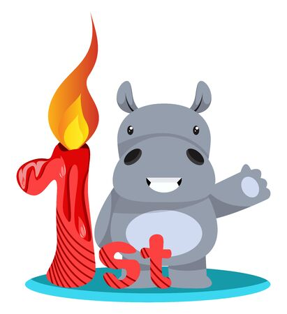 Hippos first birthday, illustration, vector on white background.