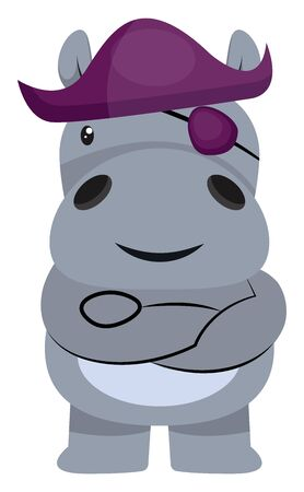 Hippo pirate, illustration, vector on white background.