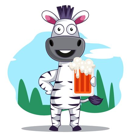 Zebra with beer, illustration, vector on white background. Illustration