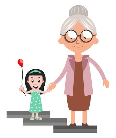 Granny with little girl, illustration, vector on white background. 矢量图像