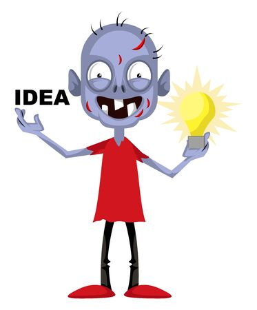 Zombie with idea, illustration, vector on white background.