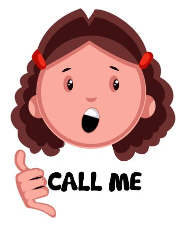 Girl showing call me, illustration, vector on white background. Ilustração