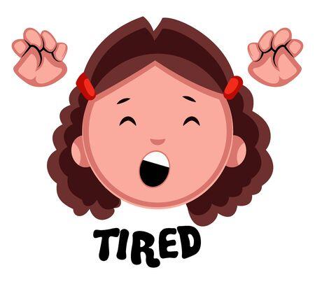 Tired girl, illustration, vector on white background.