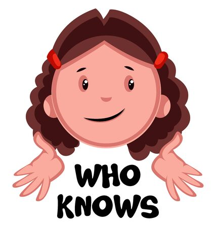 Who knows girl emoji, illustration, vector on white background.
