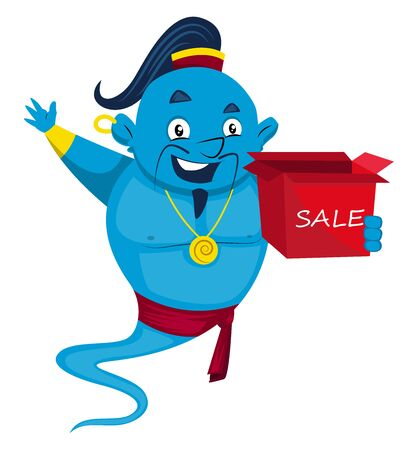 Genie with sale box, illustration, vector on white background. Illustration