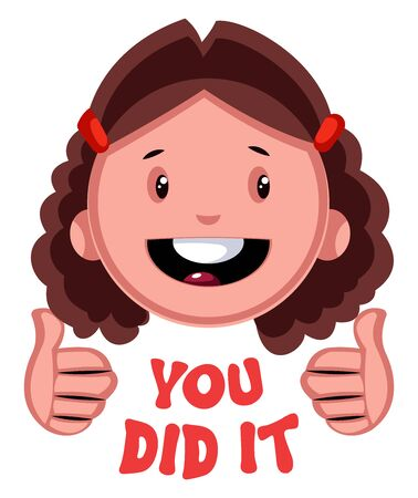 You did it girl emoji, illustration, vector on white background.