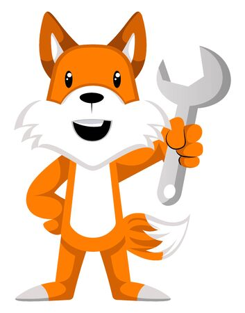 Fox with wrench, illustration, vector on white background.