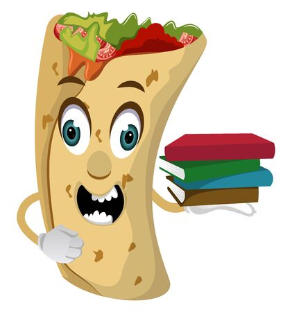 Burrito with books, illustration, vector on white background.