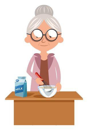 Abuela cocinando, ilustración, vector sobre fondo blanco.