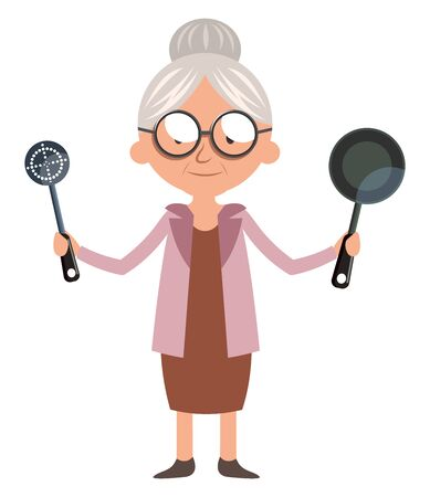 Granny with cooking pan, illustration, vector on white background. Stock Illustratie