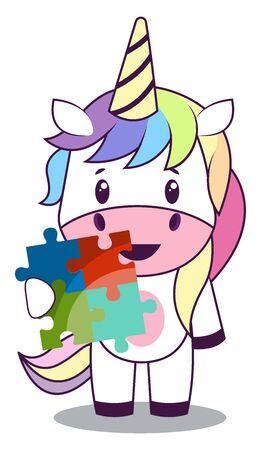 Unicorn with puzzle, illustration, vector on white background.
