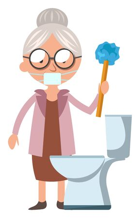 Granny cleans WC, illustration, vector on white background. Illustration