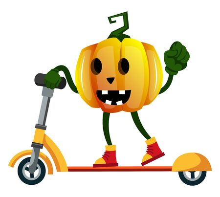 Pumpkin with scooter, illustration, vector on white background.