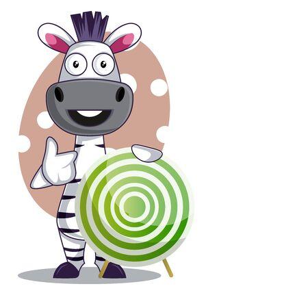 Zebra with target, illustration, vector on white background.
