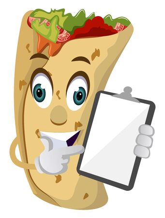 Burrito with notepad, illustration, vector on white background.