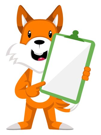 Fox with blank panel, illustration, vector on white background.