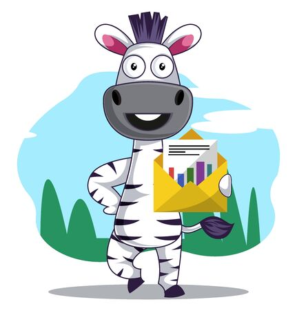 Zebra with envelope, illustration, vector on white background.