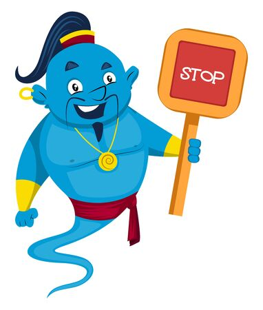 Genie with stop sign, illustration, vector on white background. Illusztráció