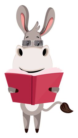 Donkey with book, illustration, vector on white background.