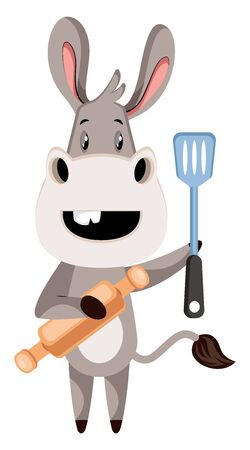 Donkey with rolling pin, illustration, vector on white background.