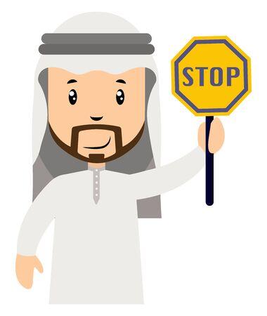 Arab men with stop sign, illustration, vector on white background. Illustration