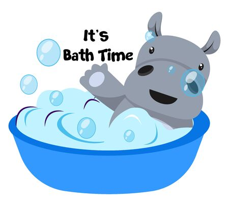 Hippo taking bath, illustration, vector on white background.