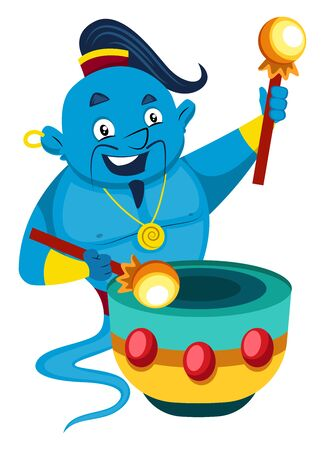 Genie with drums, illustration, vector on white background.