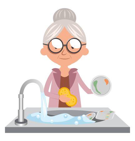 Granny cleaning dishes, illustration, vector on white background. Ilustração