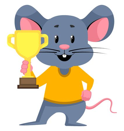 Mouse with trophy, illustration, vector on white background.