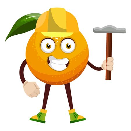 Orange with hammer, illustration, vector on white background. Illustration