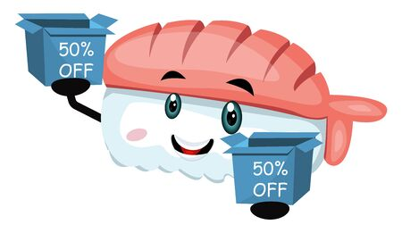 Sushi with sale box, illustration, vector on white background. Çizim